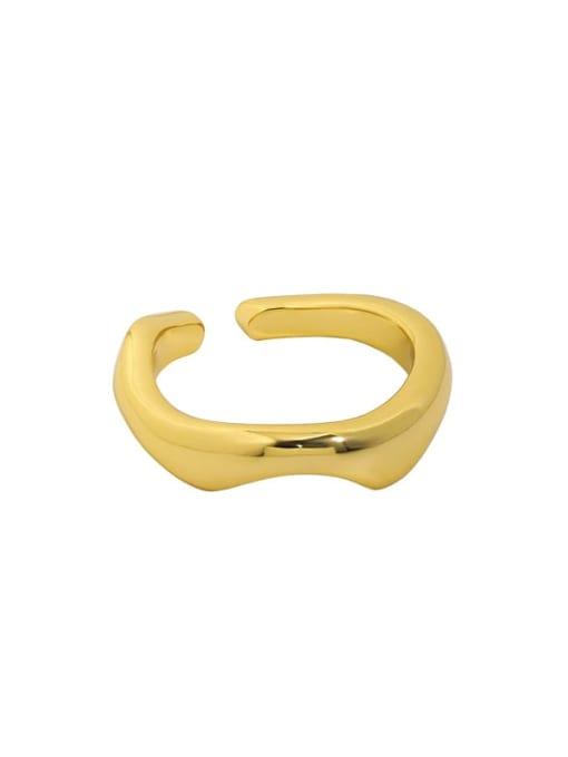 18K gold [15 adjustable] 925 Sterling Silver Smooth Irregular Minimalist Band Ring